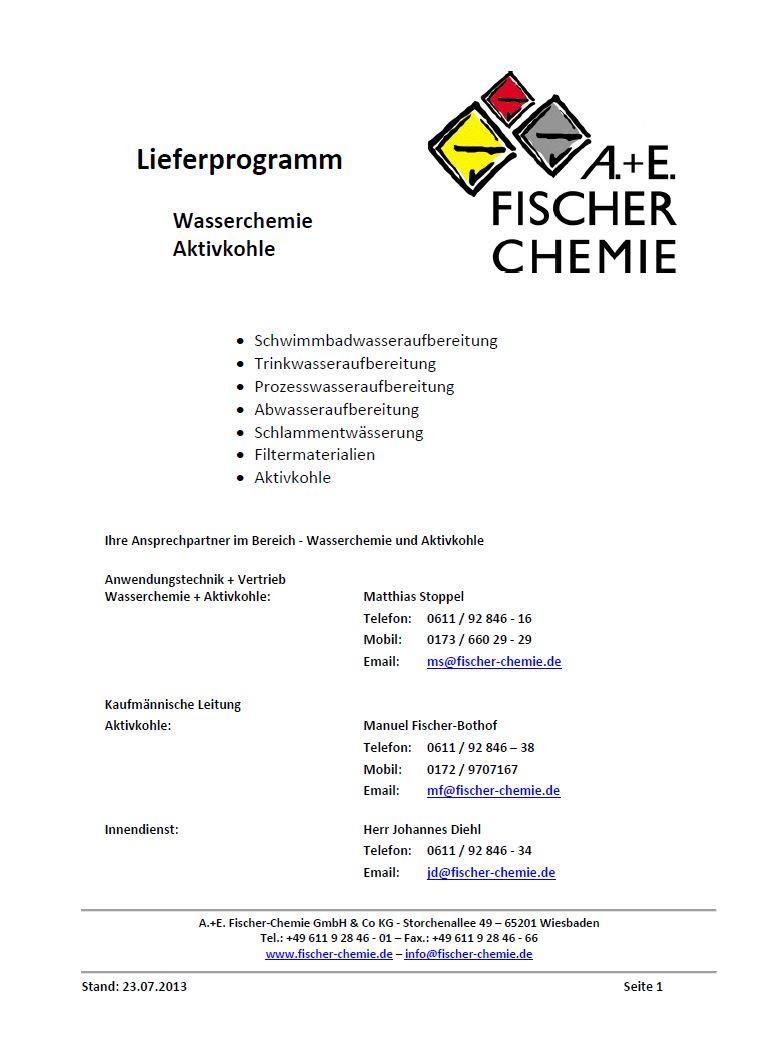 Lieferprogramm Wasserchemie
